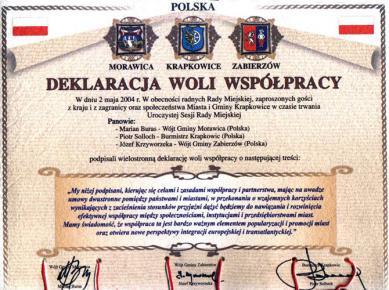 Krapkowice-Morawica-Zabierzów - deklaracja woli współpracy